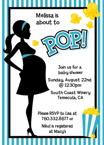 Ready To Pop Teal Stripes - Printed Baby Shower Invitation