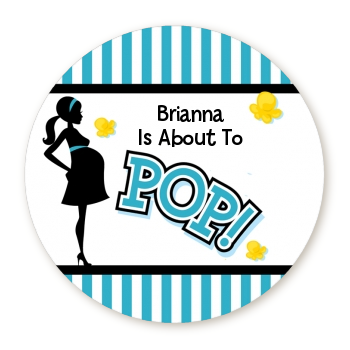 Ready To Pop Teal Stripe Personalized Round Sticker Label