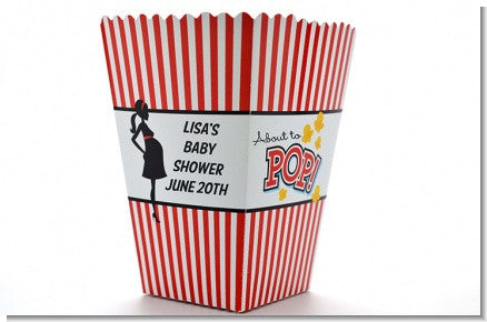 Ready to Pop Personalized Baby Shower Popcorn Favor Box - Red Stripes