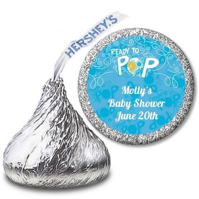 She's Ready To Pop® Blue Personalized Hershey Kiss Stickers
