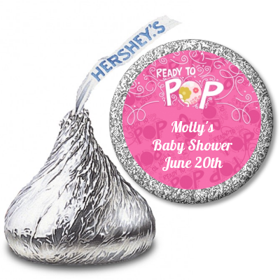 She's Ready To Pop® Pink Personalized Hershey Kiss Stickers