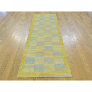 "2'8""x7'10"" Pure Wool Modern Gabbeh Raised Pile Runner Hand Knotted Rug FWR161358"
