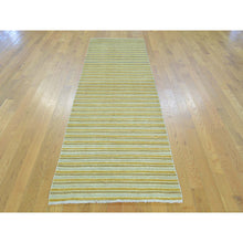 "Load image into Gallery viewer, 2'7""x8'6"" Pure Wool Runner Striped Modern Gabbeh Handmade Oriental Rug FWR161376"