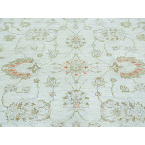 "6'x8'9"" Oushak Ivory Pure Wool White Wash Hand Knotted Oriental Rug FWR161646"