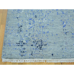 "3'1""x5'2"" Wool and Silk Broken Design Tone on Tone Handmade Rug FWR162840"