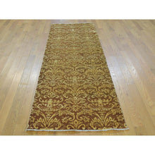 "Load image into Gallery viewer, 2'6""x7'9"" Damask Tone on Tone Runner Wool and Silk Handmade Oriental Rug FWR164664"