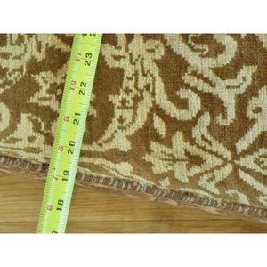 "2'6""x7'9"" Damask Tone on Tone Runner Wool and Silk Handmade Oriental Rug FWR164664"