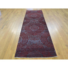 "Load image into Gallery viewer, 2'9""x9'9"" Damask Runner Wool and Silk Tone on Tone Handmade Oriental Rug FWR164700"