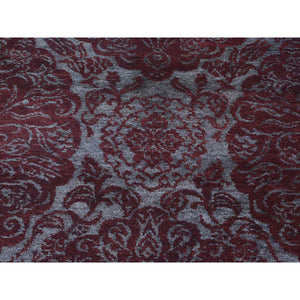 "2'9""x9'9"" Damask Runner Wool and Silk Tone on Tone Handmade Oriental Rug FWR164700"