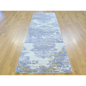 "2'9""x9'7"" Runner Damask Wool and Silk Tone on Tone Handmade Rug FWR164724"