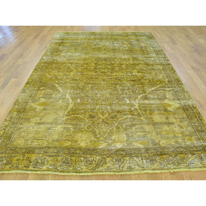 "5'8""x9'8"" Semi Antique Hand Knotted Persian Bakhtiari Overdyed Vintage Rug FWR166896"