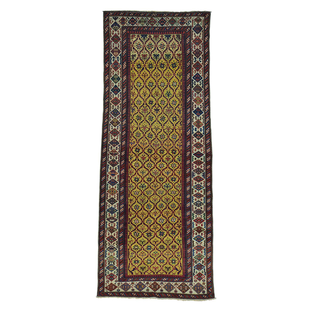 Handmade Antique Yellow Rug