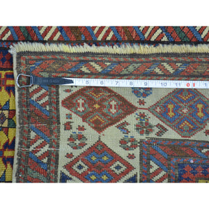 "4'x9'10"" Antique Caucasian Dagestan Vegetable Dyes Wide Runner Rug FWR169380"