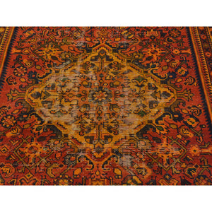 "4'10""x9'7"" Semi Antique Persian Hamadan Wide Runner Overdyed Vintage Rug FWR169830"