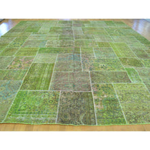 "Load image into Gallery viewer, 13'2""x15'8"" Overdyed Patchwork Tabriz Pure Wool Handmade Oversize Rug FWR170778"