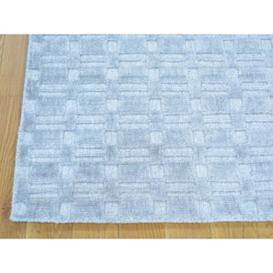 2'x3' Tone on Tone Grey Wool and Silk Hand Loomed Rug FWR179700