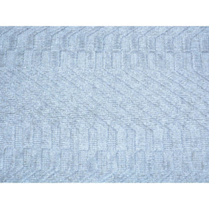 2'x3' Tone on Tone Grey Hand Loomed Wool and Silk Rug FWR179706