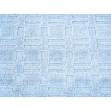 Load image into Gallery viewer, 2'x3' Tone on Tone Sky Blue Hand Loomed Wool and Silk Rug FWR179718