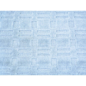 2'x3' Tone on Tone Sky Blue Hand Loomed Wool and Silk Rug FWR179718