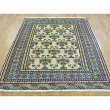 "Load image into Gallery viewer, 4'3""x5'7"" Hand Knotted Pure Wool Ivory Turkoman Bokara Oriental Rug FWR180798"