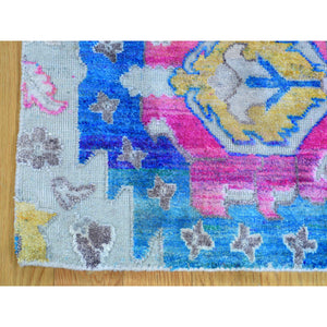 "2'x3'2"" Colorful Sari Silk with Textured Wool Hand Knotted Oriental Rug FWR181530"