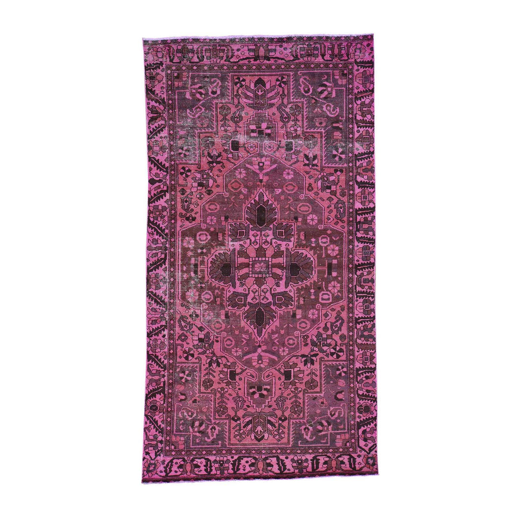 Handmade Overdyed and Vintage Pink Rug