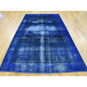 "4'8""x9' Handmade Overdyed Persian Qashqai Vintage Gallery Size Rug FWR184410"