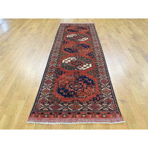 "2'10""x10'4"" Hand-Knotted Afghan Ersari Runner Pure Wool Oriental Rug FWR185340"