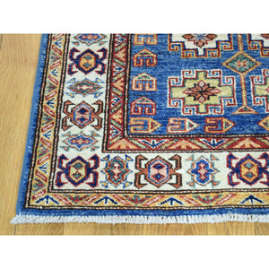 "2'7""x4'5"" Hand-Knotted Denim Blue Super Kazak Tribal Design Oriental Rug FWR186612"