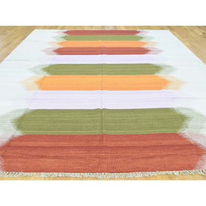 "9'x12'7"" Flat Weave Reversible Durie Kilim Colorful Hand-Woven Carpet FWR190854"