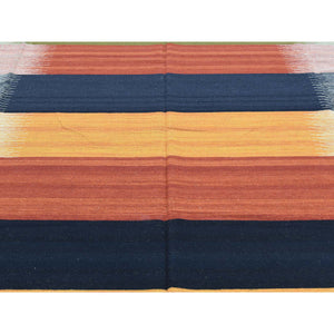 "9'x12'6"" Hand-Woven Colorful Flat Weave Reversible Durie Kilim Carpet FWR190860"
