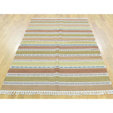 Load image into Gallery viewer, 4'x6' Hand-Woven Striped Durie Kilim 100 Percent Wool Flat Weave Rug FWR190962