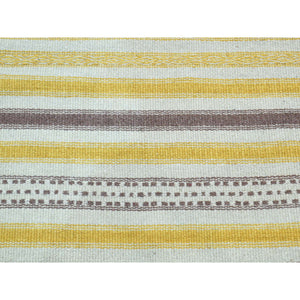 "2'5""x8' Hand-Woven Pure Wool Flat Weave Striped Durie Kilim Runner Rug FWR191028"