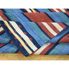 "Load image into Gallery viewer, 8'7""x10'3"" Hand-Woven Durie Kilim Flat Weave Pure Wool Striped Rug FWR191076"