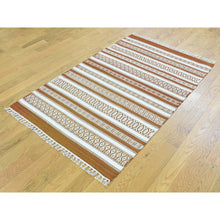 Load image into Gallery viewer, 3'x5' Flat Weave Hand-Woven Reversible Striped Kilim Pure Wool Rug FWR191166