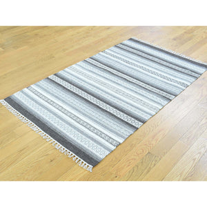 "3'x5'1"" Striped Reversible Kilim Hand-Woven Oriental Flat Weave Rug FWR191214"