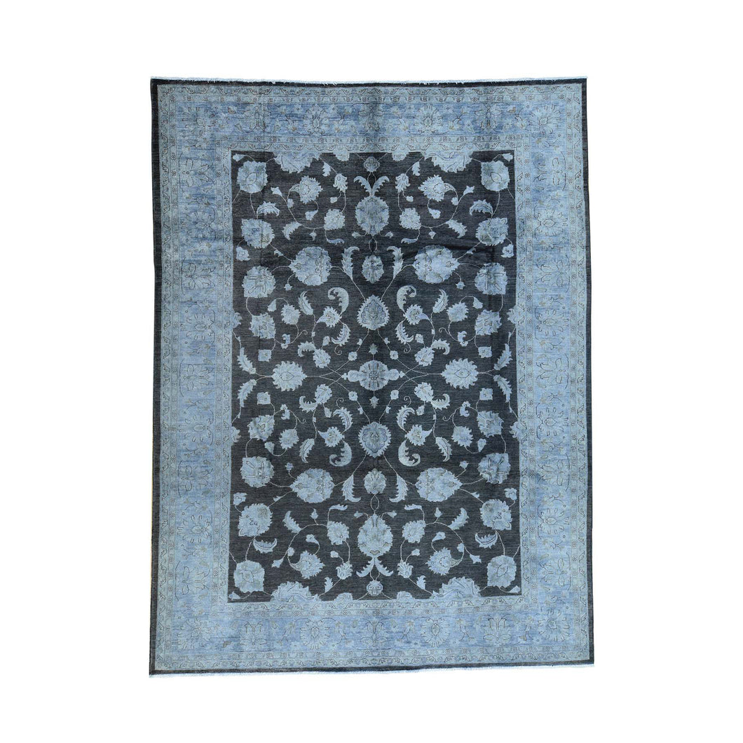 Handmade Overdyed and Vintage Black Rug