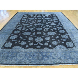 9'x12' Hand-Knotted Black Overdyed Peshawar Pure Wool Oriental Rug FWR191790