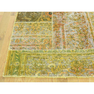 9'x12' Hand-Knotted Persian Overdyed Patchwork Oriental Vintage Carpet FWR191814