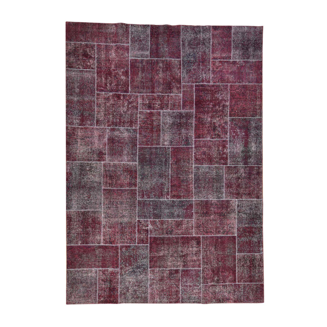 Handmade Overdyed and Vintage Red Rug