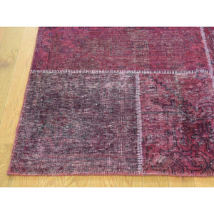 "9'1""x12'10"" Persian Overdyed Patchwork Handmade Pure Wool Vintage Carpet FWR191826"