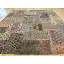 Load image into Gallery viewer, 9'x12' Pure Wool Persian Overdyed Afghan Patchwork Hand-Knotted Carpet FWR191850