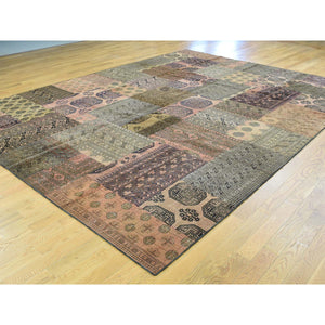 9'x12' Pure Wool Persian Overdyed Afghan Patchwork Hand-Knotted Carpet FWR191850
