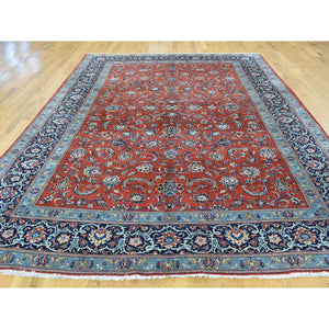"7'10""x11' Hand-Knotted Antique Persian Kashan Full Pile Oriental Rug FWR192810"
