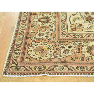 "9'8""x12'10"" Antique Persian Tabriz Hand-Knotted Full Pile Oriental Rug FWR192822"