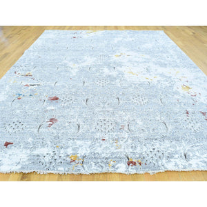 "8'9""x11'10"" Hand-Knotted Modern Broken Design Wool And Silk Oriental Rug FWR193056"