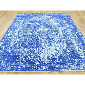 "6'x8'9"" Wool and Silk Hand-Knotted Broken Persian Design Oriental Rug FWR193098"
