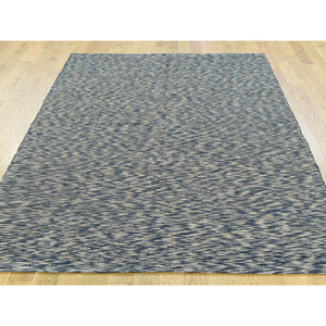 "4'6""x6'6"" Pure Wool Leather Chain Stitch Modern Hand-Woven Oriental Rug FWR193650"