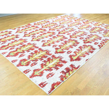 "Load image into Gallery viewer, 9'x12'1"" Hand-Knotted Modern Sari Silk Ikat Design Oriental Rug FWR194304"