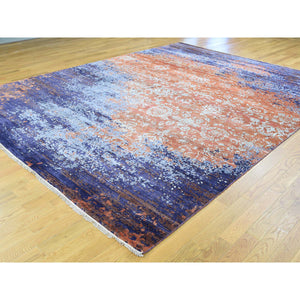 "8'10""x11'10"" Wool and Silk Modern Broken Design Hand-Knotted Rug FWR194520"